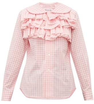 Comme des Garcons Ruffled Gingham Cotton Blouse - Womens - Pink White