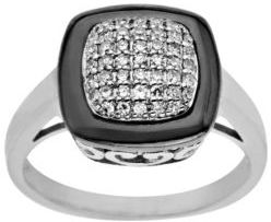 Lord & Taylor Black Rhodium and Diamond-Accented Ring in Sterling Silver