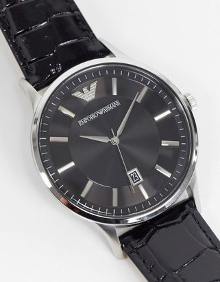 Emporio Armani leather watch in black AR11186