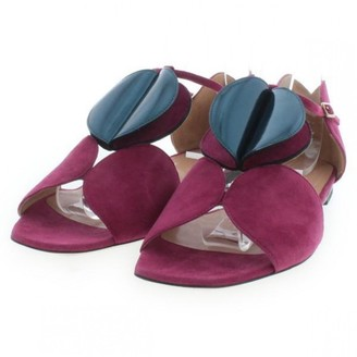 Dries Van Noten Purple Suede Sandals