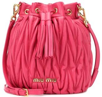 Miu Miu Matelasse leather bucket bag