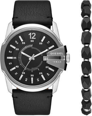 Diesel Men Master Chief Black Leather Strap Watch 45mm Box Set