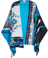 Etro Floral and geometric-print cotton poncho