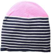 Plush Fleece-Lined Striped Color Block Beanie