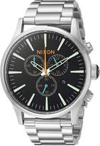 Nixon Men's 'Sentry Chrono' Quartz Stainless Steel Watch, Color:Silver-Toned