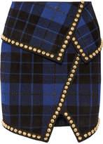 Balmain Asymmetric Embellished Tartan Jacquard-knit Mini Skirt