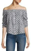 Paige Savannah Off-the-Shoulder Floral-Printed Cotton Top