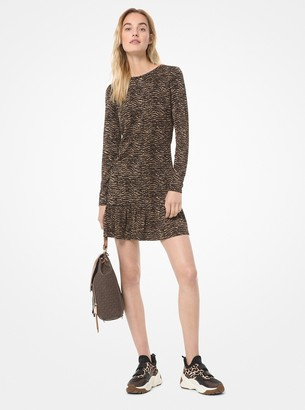 MICHAEL Michael Kors Tiger Jacquard Flounce Dress