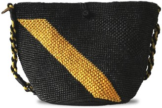 Maraina London Annabel Raffia Crochet Beach Bag- Black and yellow