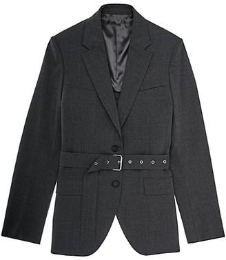 Helmut Lang Back Open Belted Wool-Blend Blazer