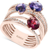 Effy Amethyst (1-1/10 ct. t.w.), Rhodolite Garnet (1 ct. t.w.) and Diamond (1/4 ct. t.w.) Statement Ring in 14k Rose Gold