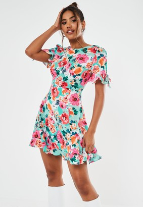 Missguided Pink Floral Ruffle A Line Mini Dress