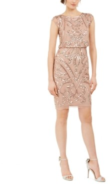 Adrianna Papell Geo Sequined Blouson Dress