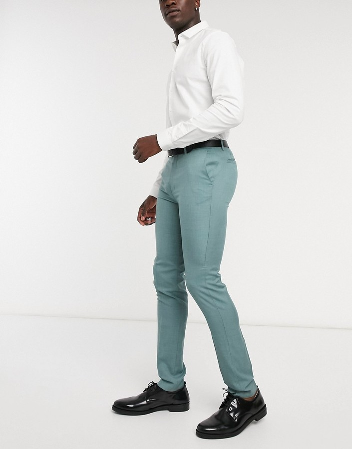 Thumbnail for your product : Topman Big & Tall skinny suit trousers in sage