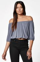 La Hearts Cupro Off-The-Shoulder Top