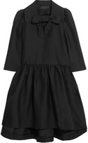 Co Pussy-bow Woven Dress - Black
