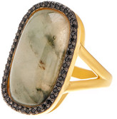 Freida Rothman 14K Gold Plated Sterling Silver Stone Cabochon & CZ Ring