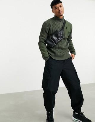 Calvin Klein Jeans utility half-zip sweater with chest pocket in khaki