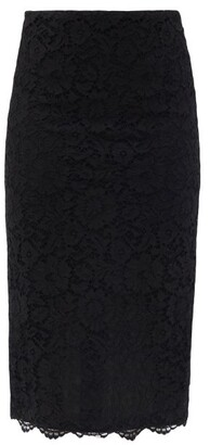 Valentino High-rise Cordonnet-lace Pencil Skirt - Black