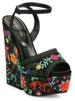 Sergio Rossi Cancun Embroidered Platform Wedge Sandals