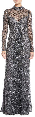 Parker Black Leandra Sequin Long-Sleeve Gown Dress
