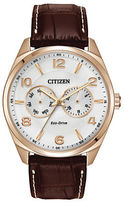 Citizen Mens Eco-Drive Rose Goldtone Watch with Brown Leather Strap