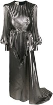 Gucci balloon-sleeve pleated lame gown