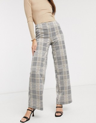 B.young b. Young check wide leg suit pants