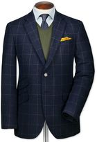 Slim Fit Blue Luxury Border Tweed Wool Jacket Size 36