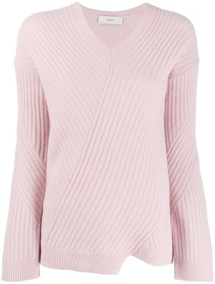 Pringle asymmetric ribbed knit sweater