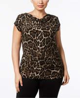 Anne Klein Plus Size Animal-Print Cowl-Neck Top