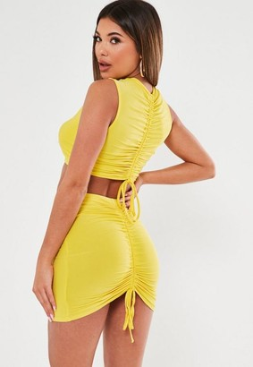 Missguided Lime Slinky Ruched Back Crop Top