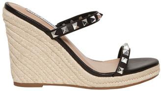 Steve Madden Mabil Black Leather Wedge Sandal