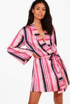 boohoo Lucy Striped Satin Robe