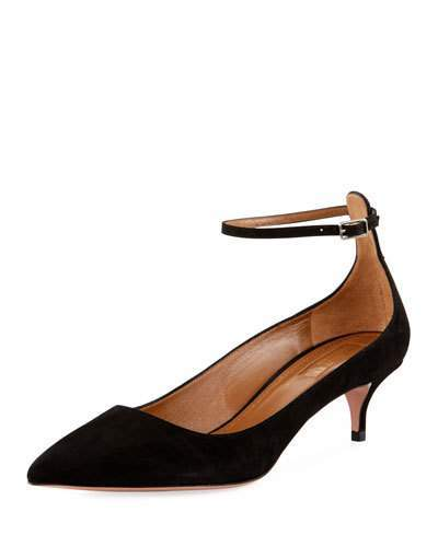 Aquazzura Kisha 45mm Suede Ankle-Wrap Pump, Black