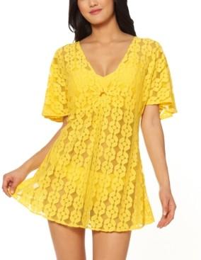 Jessica Simpson O-Ring Crochet Swim Cover-Up Dress Women's Swimsuit