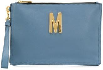 Moschino M logo-plaque clutch bag