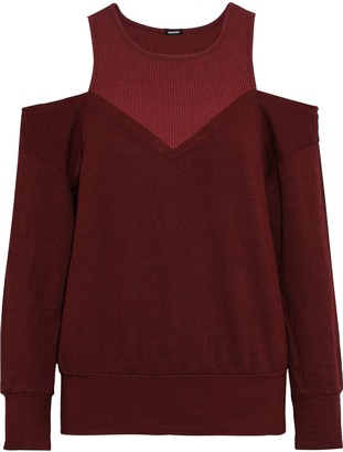 Monrow Cold-shoulder Ribbed Jersey-paneled French Terry Sweatshirt