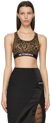 Vetements Brown and Black Leopard Logo Sports Bra