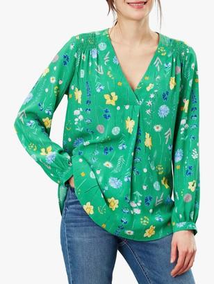 Joules Ayla Smocked Shoulder Pop Over Top, Green Floral