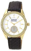 Badgley Mischka Ladies Yellowtone Crystal Watch with Black Leather Strap