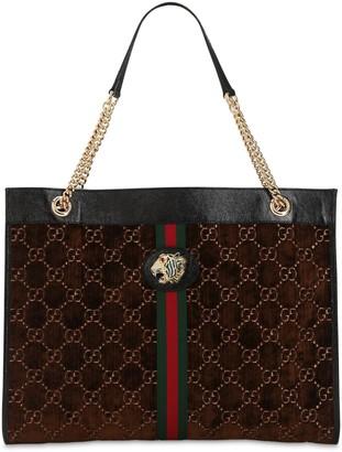 Gucci Large Rajah Gg Velvet Tote Bag