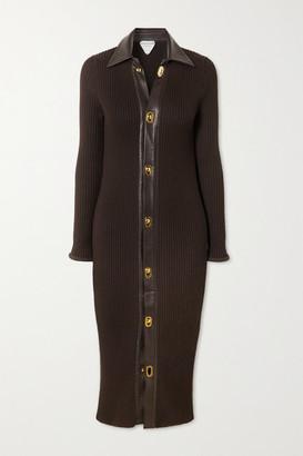 Bottega Veneta Leather-trimmed Ribbed Wool-blend Midi Dress - Brown