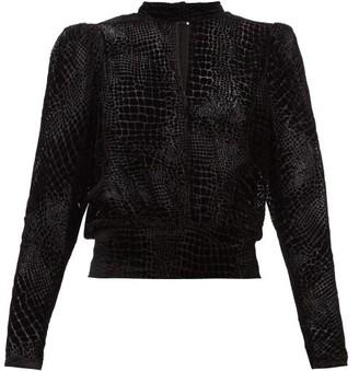 Frame Puff-sleeved Devore Velvet Top - Black