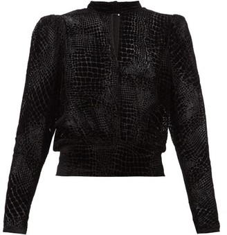 Frame Puff-sleeved Devore Velvet Top - Womens - Black