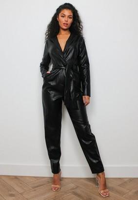 Missguided Black Faux Leather Tie Tux Romper