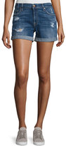 7 For All Mankind Mid-Rise Rolled-Cuff Distressed Denim Shorts, Indigo