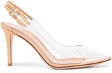 Gianvito Rossi Plexi Double Strap Heels in Transparent & Nude | FWRD