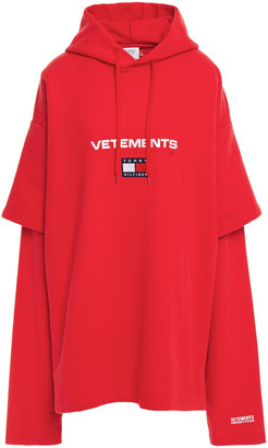 Vetements Oversized Printed French Cotton-blend Terry Hoodie