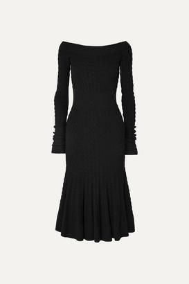 Alexander McQueen Off-shoulder Cable-knit Wool-blend Dress - Black